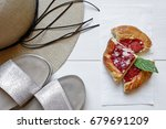 straw hat  silver slippers and... | Shutterstock . vector #679691209