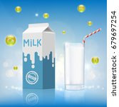 glass of milk with vitamins and ... | Shutterstock .eps vector #679697254