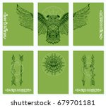a set of cards with a style of...   Shutterstock .eps vector #679701181