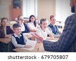 children listening teacher in... | Shutterstock . vector #679705807