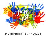 happy holi on a background of... | Shutterstock . vector #679714285