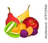 composition of juicy apple pear ... | Shutterstock . vector #679715965