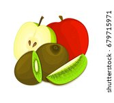 composition of juicy apple and... | Shutterstock . vector #679715971