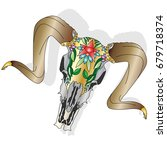 skull   hand drawn illustration ...   Shutterstock .eps vector #679718374
