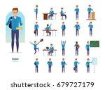 set of character modern student.... | Shutterstock .eps vector #679727179
