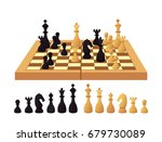 chess board and pieces isolated ... | Shutterstock .eps vector #679730089