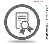 diploma icon flat. | Shutterstock .eps vector #679741474