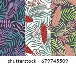 set of three seamless floral... | Shutterstock .eps vector #679745509