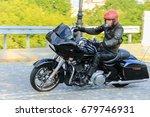 Motorcyclist In Red Helmet...