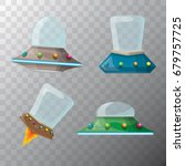 vector cartoon flying saucer... | Shutterstock .eps vector #679757725