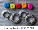 letter cube and rivets on gray... | Shutterstock . vector #679761634