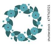 cute wreath with blue flowers | Shutterstock . vector #679763521