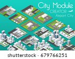 City module creator isometric airport of urban infrastructure business. Vector building illustration of skyscraper and collection of town elements architecture, home, construction, block and park - stock vector