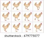 walking light brown hen sprite... | Shutterstock .eps vector #679775077