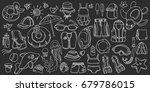 doodle set of swimming goods... | Shutterstock .eps vector #679786015