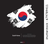 south korea flag with  brush... | Shutterstock .eps vector #679789411