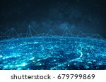 blue night modern city with... | Shutterstock . vector #679799869