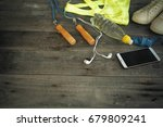 a set for sports activities on... | Shutterstock . vector #679809241