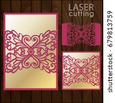 laser cut wedding invitation... | Shutterstock .eps vector #679813759