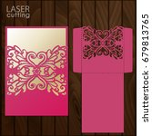 laser cut wedding invitation... | Shutterstock .eps vector #679813765