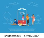 battery low concept vector... | Shutterstock .eps vector #679822864