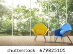 modern living room with blurry... | Shutterstock . vector #679825105