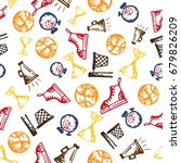 seamless pattern with hand...   Shutterstock .eps vector #679826209
