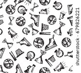 seamless pattern with hand...   Shutterstock .eps vector #679826221