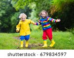 little boy and girl play in... | Shutterstock . vector #679834597