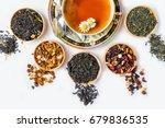 Stock photo tea cup of tea various kinds of tea tea on the table 679836535