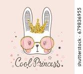 cute rabbit. cool princess | Shutterstock .eps vector #679836955