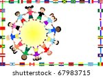 Raster version Illustration for cultural event showing diversity and 36 different flags. - stock photo