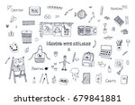 drawing with children lesson... | Shutterstock .eps vector #679841881