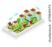 isometric map with city on it's ... | Shutterstock .eps vector #679849474