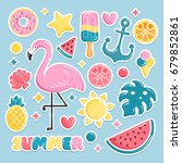 summer beach elements stickers. ... | Shutterstock .eps vector #679852861