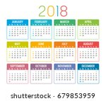 colorful year 2018 calendar... | Shutterstock .eps vector #679853959
