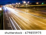 night wide highway with moving... | Shutterstock . vector #679855975