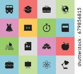 set of 16 editable school icons.... | Shutterstock .eps vector #679856815
