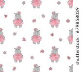 Cute Baby Hippo Pattern. Vecto...