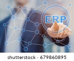 manager touching enterprise... | Shutterstock . vector #679860895
