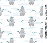 seamless pattern with hippo... | Shutterstock .eps vector #679862425