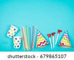 set of birthday party items on... | Shutterstock . vector #679865107