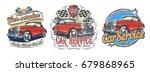 set of vector vintage badges ... | Shutterstock .eps vector #679868965