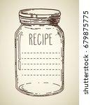 recipe template. vector hand... | Shutterstock .eps vector #679875775