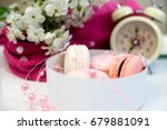 tender macaroons in a white... | Shutterstock . vector #679881091