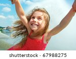 happy girl is spinned around by ... | Shutterstock . vector #67988275