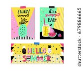 summer set of colorful vector... | Shutterstock .eps vector #679886665