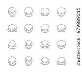 outline skulls gray vector icon ...   Shutterstock .eps vector #679889215