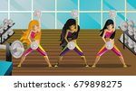 three girls in gym center | Shutterstock .eps vector #679898275