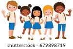 group of children students... | Shutterstock .eps vector #679898719